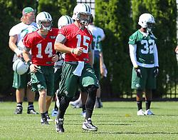Jun 7, 2012; Florham Park, NJ, USA; New York Jets quarterback Tim Tebow (15) during the New York Jets organized team activities at the Atlantic Health Training Center.