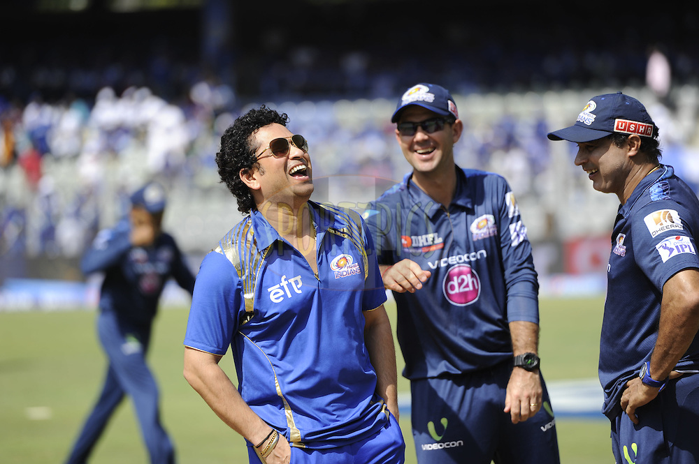 Sachin tendulkar Ikon of Mumbai Indians shares a lighter moment with Ricky Ponting, coach of Mumbai Indians before the start of match 22 of the Pepsi IPL 2015 (Indian Premier League) between The Rajasthan Royals and The Royal Challengers Bangalore held at the Sardar Patel Stadium in Ahmedabad , India on the 24th April 2015.<br />