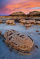 "Sunset on an ""egg"" the ""Egg Garden"". Bisti/De-Na-Zin Wilderness in northwest New Mexico."