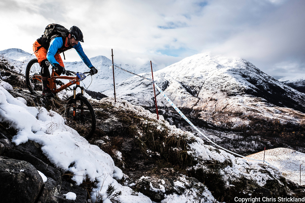 Kinlochleven, Scottish Highlands, UK. 19th November 2016. Mountain bikers compete in an enduro on the snow laden hill sides surrounding Kinlochleven in the Scottish Highlands.