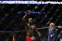 Apr 18, 2009; Montreal, Quebec, CAN; Cheick Kongo (red/black) and Antoni Hardonk (white) battle during their heavyweight bout at UFC 87: Redemption at the Bell Centre in Montreal, Canada.