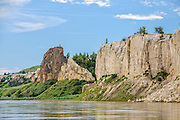 White cliffs and Labarge Rock, near Eagle Creek on the Upper Missouri River Breaks National Monument, Montana.