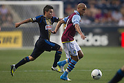 Karim El Ahmadi of Aston Villa gets chased by Cristhian Hernandez of the Philadelphia Union during a match between Aston Villa FC and Philadelphia Union at PPL Park in Chester, Pennsylvania, USA on Wednesday July 18, 2012. (photo - Mat Boyle)