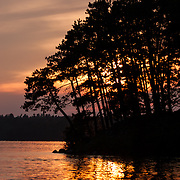 Sunset. Lake of the Woods, Ontario, Canada.