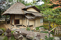 "Ihoan Hut at Kodaiji Temple Garden; At Kodai-ji temple there are several formal gardens designed by Kobori Enshu, who was an architect and master Zen gardener, as well as a master of calligraphy, poetry, and tea ceremony. The Ihoan tea hut or ""Cottage of Lingering Fragrance"" is one more element of Kobori Enshu's garden design, considering his interest in tea ceremony as well as gardening."