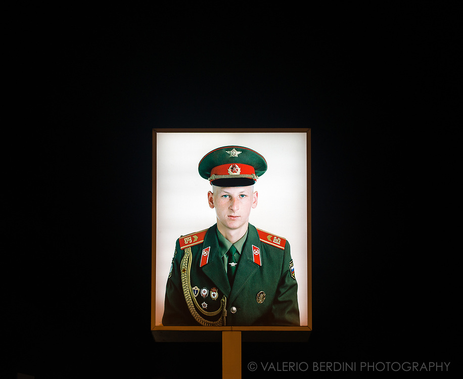 Fictional portrait of a Soviet soldier at Checkpoint Charlie where the main crossing point between East and West Berlin during the Cold War was.