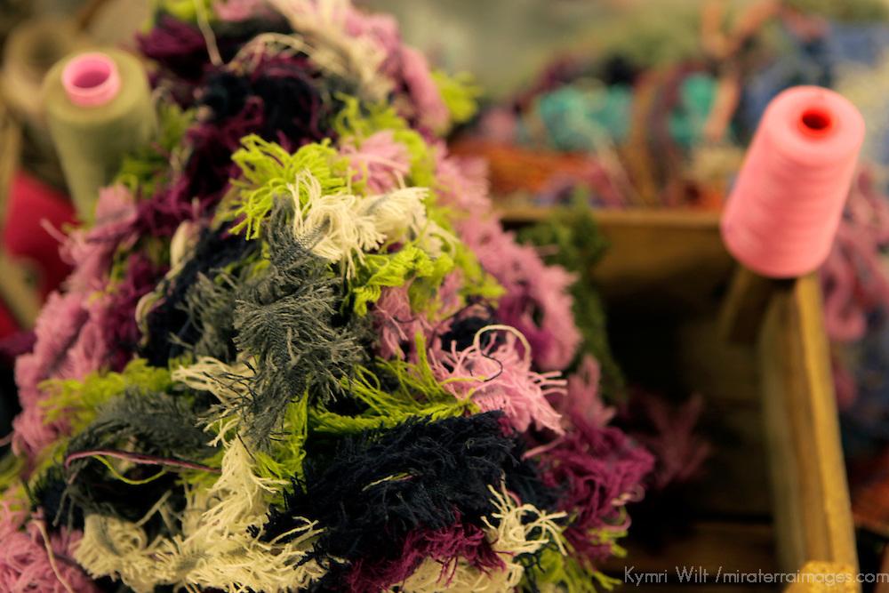 Europe, Ireland, Avoca. Avoca Handweavers Mill, County Wicklow. Wool scraps.