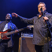 "WASHINGTON, DC - May 5th, 2014 - Seth Hurwitz, owner of the 9:30 Club (right) sings ""Happy Birthday"" to Big Tony of Trouble Funk and part of Big Tony's birthday celebration at the 9:30 Club. The night featured a set from ""surprise guests"" Dave Grohl and Foo Fighters. (Photo by Kyle Gustafson / For The Washington Post)"