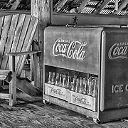 Rusting Coca Cola Cooler With Bottles - Eldorado Canyon - Nelson NV - HDR -  Black & White