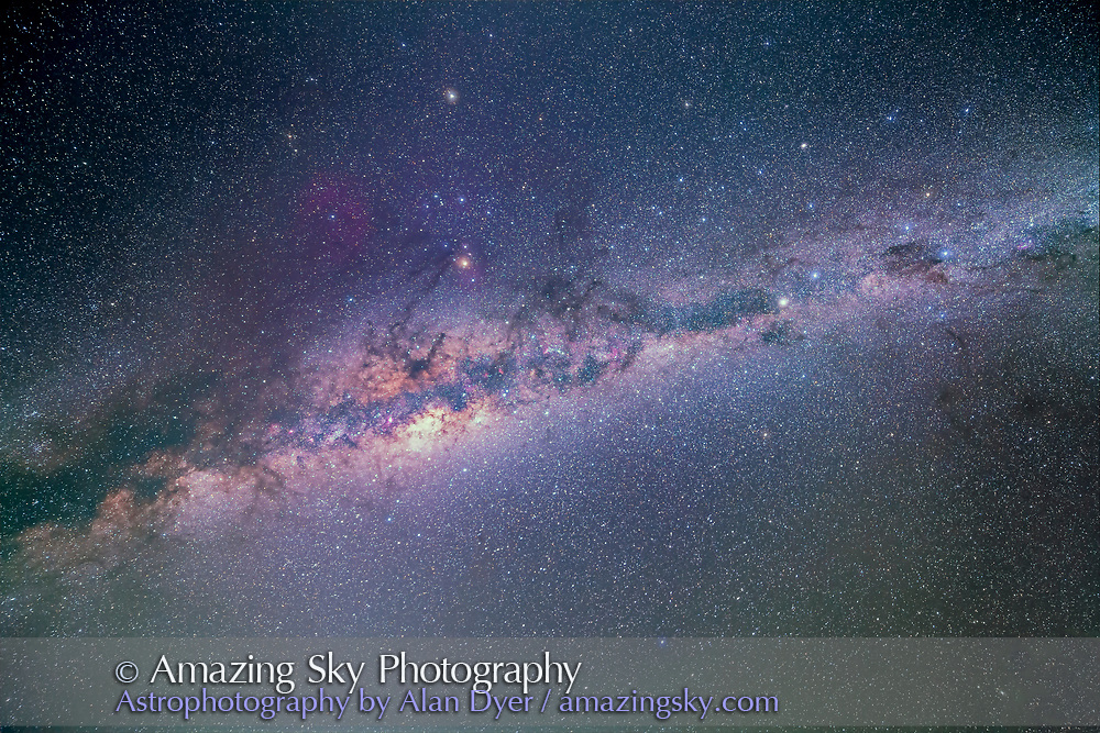 A single-image ultra-wide sweep of the southern Milky Way from Crux, the Southern Cross (at right) to Aquila (at far left) with the centre of the Galaxy in Sagittarius and Scorpius at centre of frame. The image takes in all of the legendary &quot;Dark Emu&quot; constellation of Australian aboriginal lore, with his head in the Coal Sak dark nebula t right, his neck in the dark rift running from Centaurus to Scorpius, and is body in the large glowing mass of stars and dark nebulas around the galactic core. His feet and tail are in the dark tendrils at left of frame. <br /> <br /> The faint vertical glow at left running from bottomt to top is the Zodiacal Light and Zodiacal Band. This was taken at about 4 a.m. local time in the pre-dawn sky with the Milky Way high in the east and to the south. Saturn in Libra is at upper left of centre.<br /> <br /> This is a stack of 7 x 5 minute exposures at f/2.8 with the Rokinon 14mm lens on the Canon 5D Mark II at ISO 1600. An 8th image taken at the end of the sequence when the lens was fogged with dew was layered in to add the star glows.