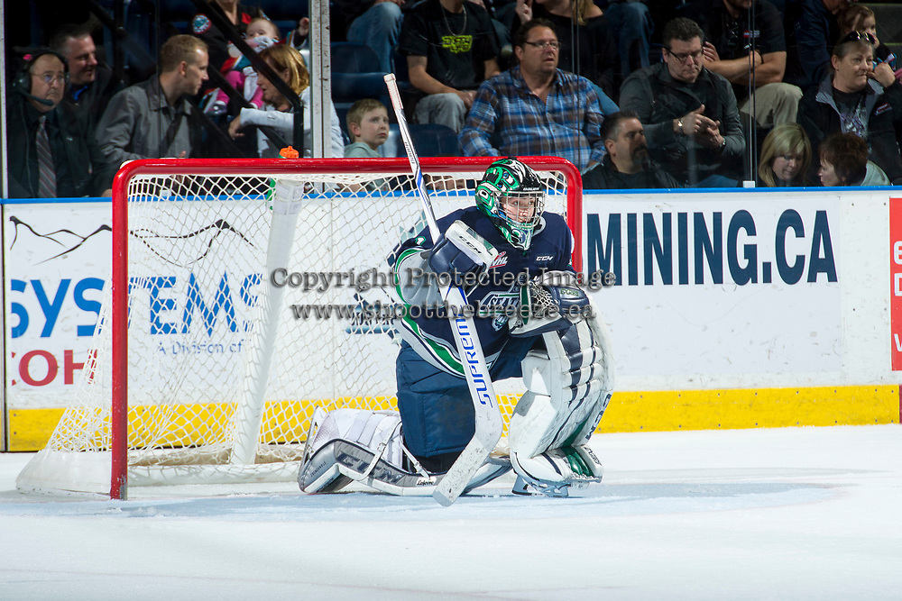 KELOWNA, CANADA - APRIL 25: Carl Stankowski #1 of the Seattle Thunderbirds stands in net during a time out against the Kelowna Rockets on April 25, 2017 at Prospera Place in Kelowna, British Columbia, Canada.  (Photo by Marissa Baecker/Shoot the Breeze)  *** Local Caption ***