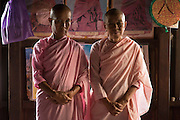 The older Nun on the right, Daw Kula Thanda runs this monastery. Nuns at a monastery in Nyaung Shwe.