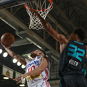 Delaware 87ers Guard MIKH MCKINNEY (10) drives to the basket as Greensboro Swarm Forward SHONN MILLER (32) defends in the first half of an NBA D-league regular season game between the Delaware 87ers and the Greensboro Swarm (Charlotte Hornets) Wednesday, March 29, 2017, at The Bob Carpenter Sports Convocation Center in Newark, DEL