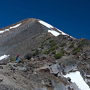 Mount McLoughlin is a volcano in the Cascade Range of southern Oregon that is within the Sky Lakes Wilderness area.    The mountain reaches 9,495 feet and is north of Mount Shasta in California, west of Upper Klamath Lake, and south of Crater Lake.  On a clear day, the Sky Lakes Wilderness area, Crater Lake, Rogue Valley, and Mount Shasta are visible from the summit, which is accessible by a strenuous 5 mile hike.