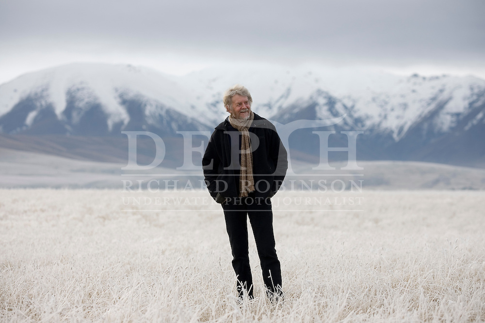 Author Brian Turner near his home in Oturehua with the Hawkdun Ranges in the background, in the Maniototo region of Central Otago.<br />