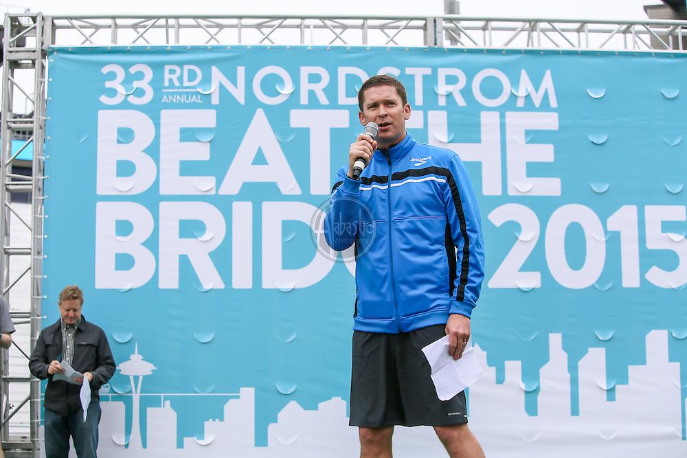 33rd Annual Nordstrom Beat the Bridge Run award winners corporate chair Dan Sheridan, Brooks.