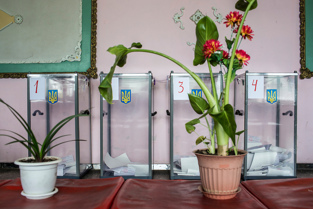 NOVOEKONOMICHNE, UKRAINE - MAY 25:  Ballot boxes sit inside a polling station during Ukraine's presidential election on May 25, 2014 in Novoekonomichne, Ukraine. The elections are widely viewed as crucial to taming instability in the eastern part of the country. (Photo by Brendan Hoffman/Getty Images) *** Local Caption ***