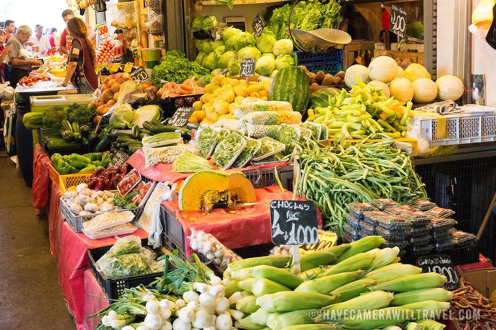 at La Vega Central Market in downtown Chile, just across the Mapocho River from the Mercado Central. La Vega specializes in fruit, vegetables, and dairy goods as well as a number of eateries preparing Chilean cuisine.