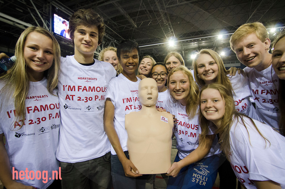 The Netherlands, Arnhem, june 6 th 2014 - 3242 dutch students made a world record largest automated external defibrillation (AED) training session in the 'Gerledome' stadium.