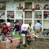 South America, Ecuador, San Pablo del Lago. Dia de Los Muertos in Ecuador, when families visit the graves of loved ones.