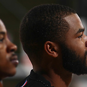 Erie BayHawks Guard AARON HARRISON (2) standing on the floor during the singing of the national anthem prior a NBA D-league regular season basketball game between the Delaware 87ers and the Erie BayHawks Tuesday, Mar. 29, 2016, at The Bob Carpenter Sports Convocation Center in Newark, DEL.