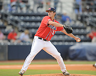 Mississippi's Drew Pomeranz pitches vs. Auburn during a college baseball game in Oxford, Miss. on Thursday, May 20, 2010.  (AP Photo/Oxford Eagle, Bruce Newman)
