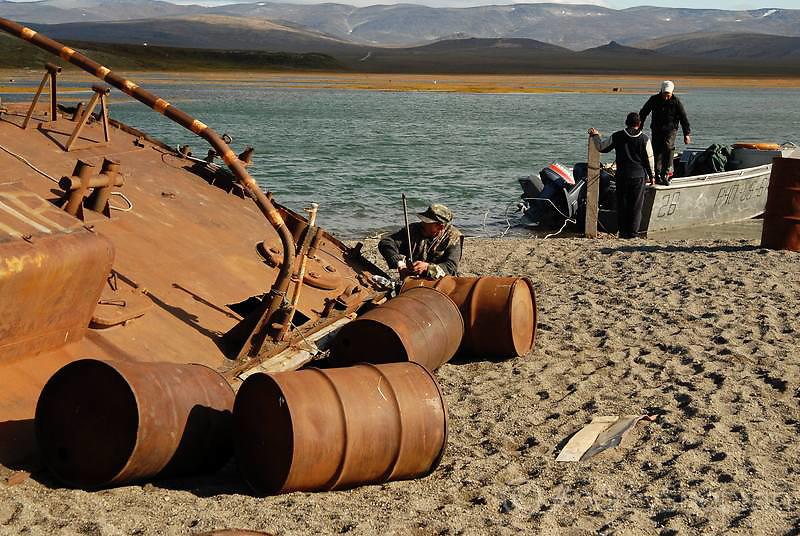 Metal scrap on the coast of the Chukchi peninsula. Russia