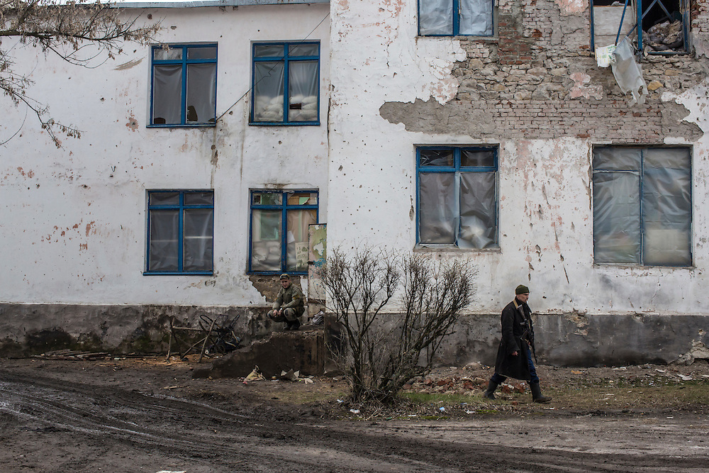 Soldiers for the Donetsk People's Republic at a front-line position in an abandoned school on Wednesday, March 23, 2016 in Zaitseve, Ukraine.