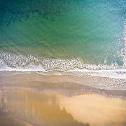 An aerial drone view of the beach in Bonnet Shores, Narragansett, Rhode Island.