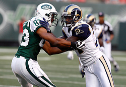 Aug 14, 2009; East Rutherford, NJ, USA;   St. Louis Rams cornerback David Roach (27) and New York Jets wide receiver Chansi Stuckey (83) battle during the first half at Giants Stadium.