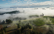 Aerial views over Soter Vineyards, Yamhill-Carlton AVA, Willamette Valley, Oregon