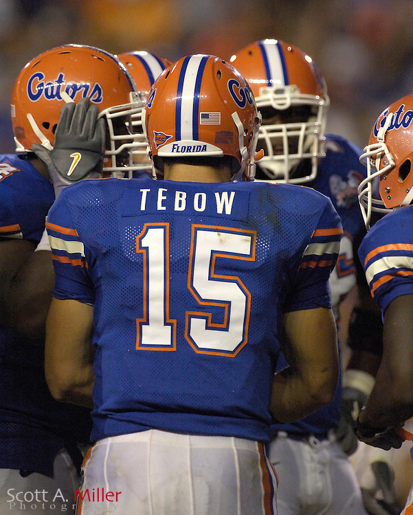 Florida Gators quarterback Tim Tebow (15)  in action against the Central Florida Golden Knights at Ben Hill Griffin Stadium on Sept. 9, 2006 in Gainesville, Florida......©2006 Scott A. Miller
