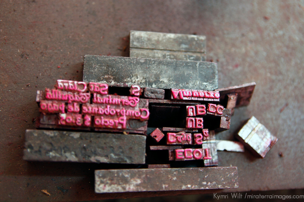 Central America, Cuba, Caibarien. Type Letter Press Blocks in Cuban Print Shop.