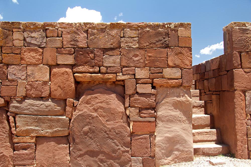South America, Bolivia, Tiwanaku. Kalasasaya Temple Wall and Steps at Pre-Columbian archaeological site of Tiwanaku, a UNESCO World Heritage Site.