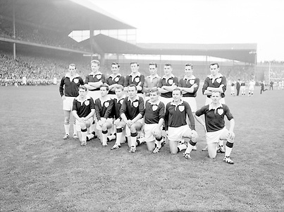 All Ireland Senior Football Championship Final, Dublin v Galway, 22.09.1963, 09.23.1963, 22nd September 1963, Dublin 1-9 Galway 0-10,..Back Row Left to right .S Leyden, galway.M McDonagh, .N Tierney, .M MacReynolds, .M Moore, .M Newell, .E Colleran and S Meade.Front Row Left to Right ..C Dunne, .J Keenan,  .B Geraghty, .M Garrett Captain, S B McDermott, .P Donnellan, .S Donnellan .............