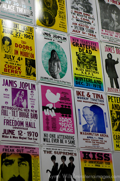USA, California, Los Angeles. Concert Posters at Amoeba Music Store in Hollywood.