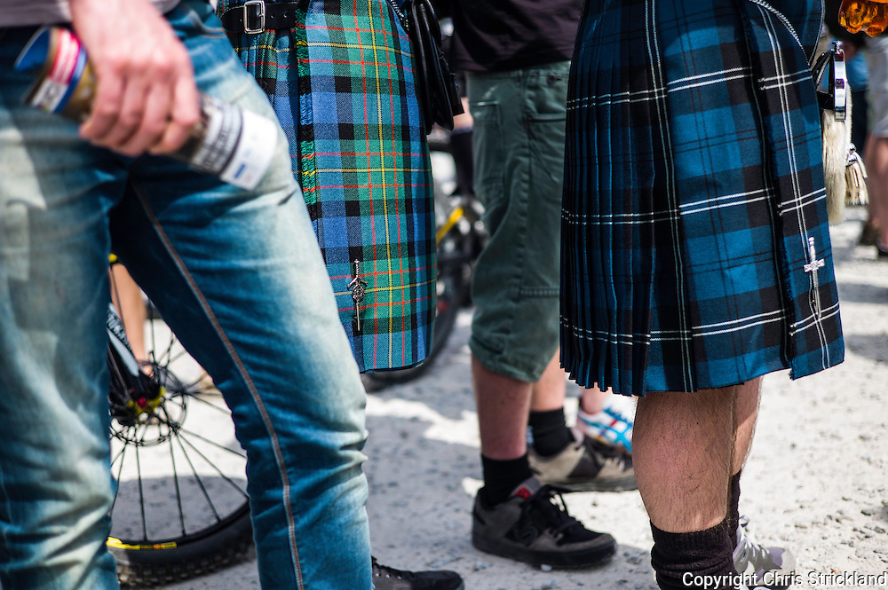 Nevis Range, Fort William, Scotland, UK. 4th June 2016. Kilts in the summer heat, well it is Scotland. The worlds leading mountain bikers descend on Fort William for the UCI World Cup on Nevis Range.