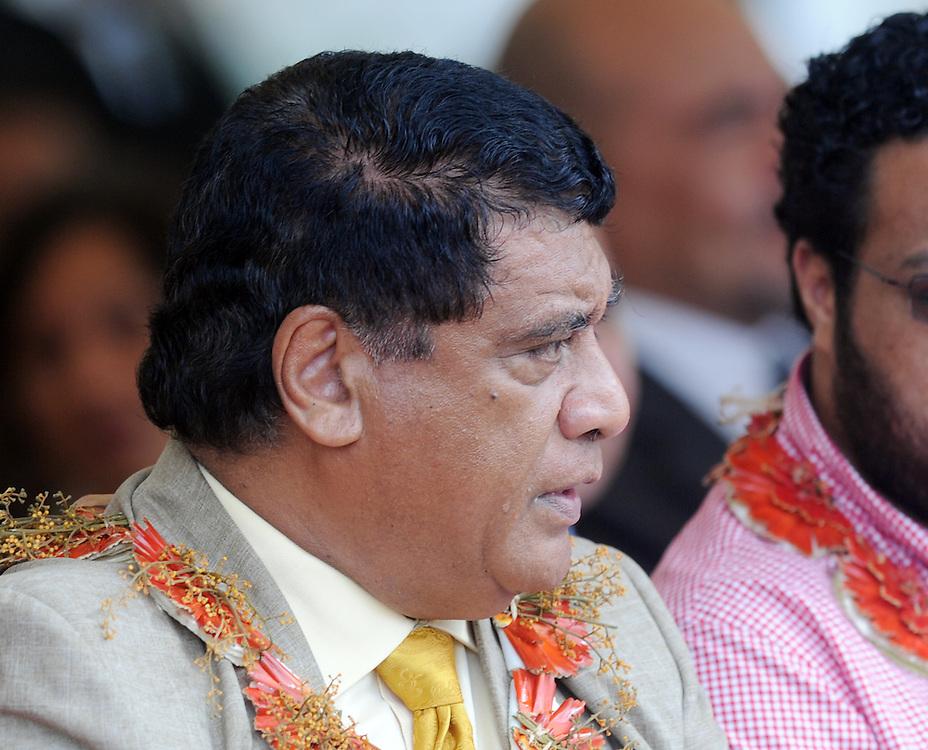 Tongan Prime Minister Siale 'Ataongo Kaho, Lord Tu'ivakano at the opening of the Maama Mia Solar Power Facility, Pacific Mission 2012, Nuku'alofa, Tonga, Tuesday, July 24, 2012. Credit:SNPA / Ross Setford