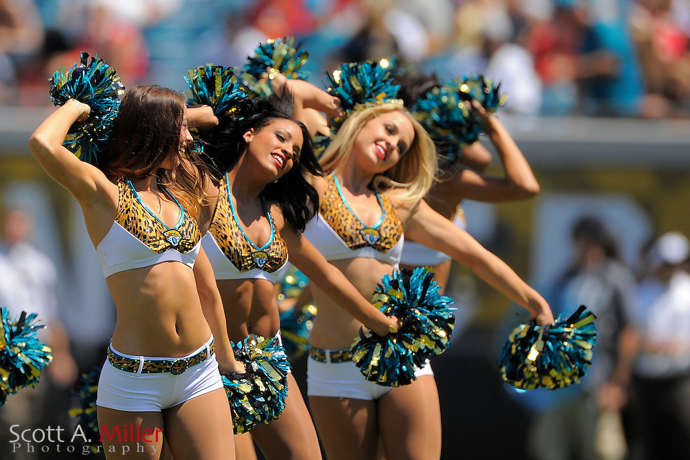 Jacksonville Jaguars cheerleaders during the Jags 28-2 loss to the Kansas City Chiefs at EverBank Field on Sept. 8, 2013 in Jacksonville, Florida. The <br /> <br /> &copy;2013 Scott A. Miller