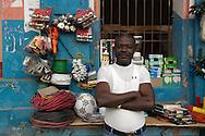 A proud shop keeper in the streets of Cap Haitian, Haiti. January 29, 2008.