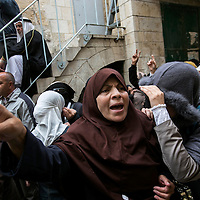 **FILE**Women of the aqsa compound protest and shout slogans as jewish worshippers exit the temple of mount.<br /> Photo by Olivier Fitoussi