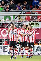 ROTTERDAM - Sparta - Vitesse , Voetbal , Eredivisie , Seizoen 2016/2017 , Het Kasteel , 11-12-2016 ,  eindstand 3-1 , Sparta speler Ivan Calero Ruiz (l) Sparta speler Bart Vriends (m) en Sparta speler Kenneth Dougall (r) lopen teleurgesteld terug na de 0-1