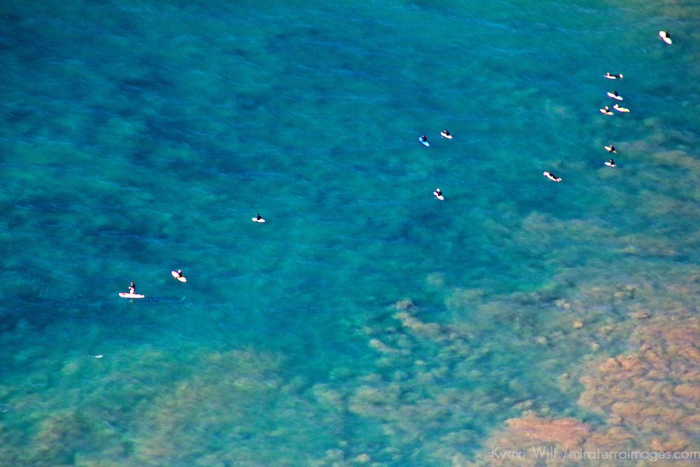 USA, California, San Diego. Aerial of surfers.