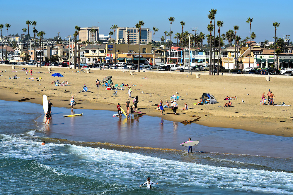 Sandy Beach on Balboa Peninsula in Newport Beach, California<br /> Balboa Peninsula in Newport Beach, California, offers five miles of sand which leaves plenty of room for visitors to enjoy surfing, swimming, sunning, strolling and shopping along the Pacific coastline.