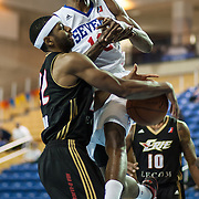 Delaware 87ers Forward Thanasis Antetokounmpo (19) drives towards the basket as Erie BayHawks Guard Mustafa Shakur (22) strips the ball from Antetokounmpo in the first half of a NBA D-league regular season basketball game between the Delaware 87ers (76ers) and the Erie BayHawks (Knicks) Monday, Jan 13, 2014 at The Bob Carpenter Sports Convocation Center, Newark, DE