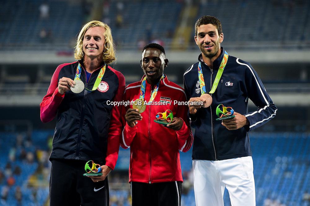 podium 3000m steeple<br /> MEKHISSI Mahiedine (fra) - medaille de bronze<br /> JAGER Evan (usa) - medaille d argent<br /> KIPRUTO Conseslus (ken) - medaille d or