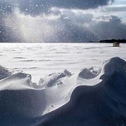 Drifting snow along Lake Mendota in Madison, Wisconsin. .