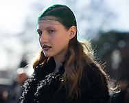 Model Off Duty with Green Hair, After Maison Margiela FW2016