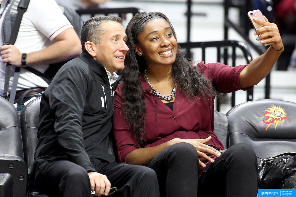 UNCASVILLE, CONNECTICUT- DECEMBER 4: Connecticut Sun Head Coach Curt Miller with Connecticut Sun player Morgan Tuck on the sideline during the UConn Huskies Vs Texas Longhorns, NCAA Women's Basketball game in the Jimmy V Classic on December 4th, 2016 at the Mohegan Sun Arena, Uncasville, Connecticut. (Photo by Tim Clayton/Corbis via Getty Images)