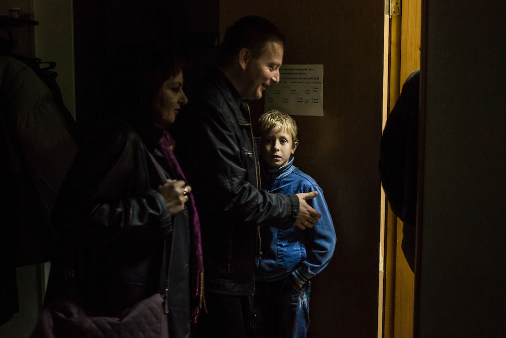 Some of the ten internally displaced people from Donetsk being housed by a local protestant organization on Tuesday, October 14, 2014 in Berdyansk, Ukraine. Photo by Brendan Hoffman, Freelance